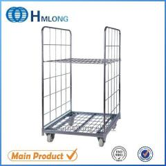 BY-07 Supermarket 2 sided galvanized folding steel storage roll cages