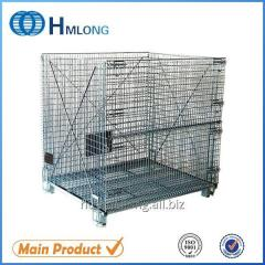 W-10 Welded foldable stacking steel warehouse storage cage with wheels