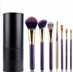 7 Piece Purple Cylinder Comsetics Brush Set