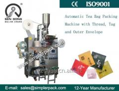 Automatic Cup Filler Tea Bag Packing Machine (with Outer Envelop, Thread and Tag)