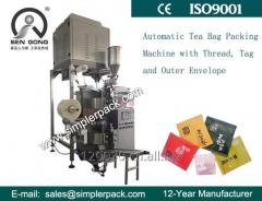 Tea Bag Packing Machine (with Outer Envelop, Thread and Tag) with Electric Scale Filler