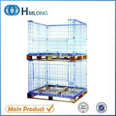 NF-1 Warehouse stackable metal foldable cage pallets