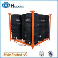 HML-7272WM  Warehouse stacking steel tire pallet with detachable posts wheels