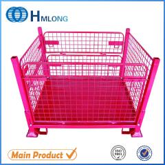 F-4 Industrial foldable steel container with wheels
