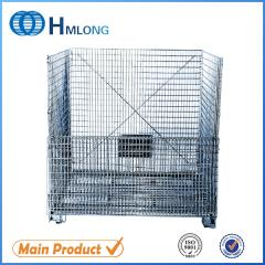 W-10 Collapsible metal steel wire mesh warehouse storage containers