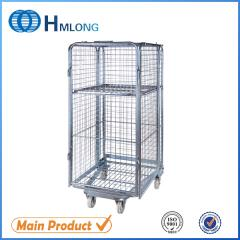BY-10 Transportation nestable 4 sided  wire rolling metal storage cage