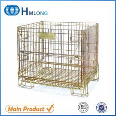 F-14 European rolling folding rigid steel wire mesh basket container