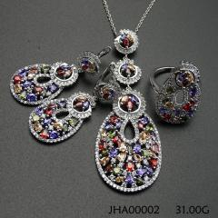 2016 colorful long shape design S925 Jewelry Set
