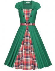 Vintage Tea Length A Line Rockabilly Swing Dress