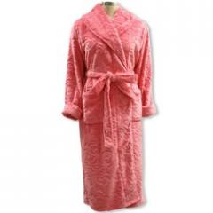 Ladies Pink Rose Cut Pile Flannel Fleece Robe, LS