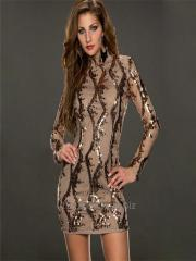 Sexy women brown bandage sequin dress
