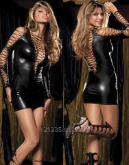 Sexy Black Nightwear Faux Net Leather Clubwear Dress