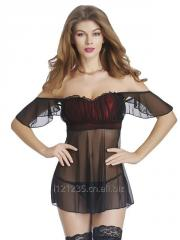 Sexy Black Off Shoulder Sheer Babydoll Sleepwear