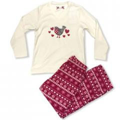 Ladies Printed Fairisle Microfleece Pajama Set, LS