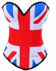 Sexy Red Corset Flag Style Overbust Bustiers