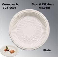 6 Inches FDA Certificated Disposable Biodegradable Cornstarch Tableware Dishes Plates