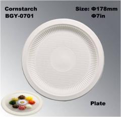 7英寸高品质一次性可生物降解玉米淀粉餐盘