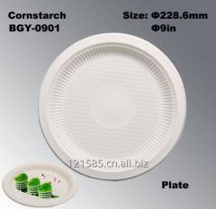 100%可降解可堆肥玉米淀粉制环保一次性餐盘