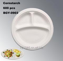 3格可生物降解可堆肥玉米淀粉环保一次性餐盘