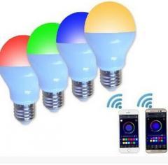 LED灯具销售A60-RGBW-6S 6W多色灯E27蓝牙智能LED球泡灯