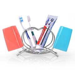Bathroom Accessories Multifunctional heart shape metal toothbrush cup holder rack desktop stainless steel