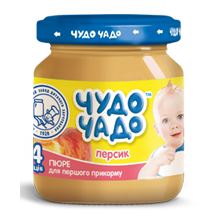 Puree from peaches with sugar sterilized Chudo-Chado baby food 0,09 kg glass