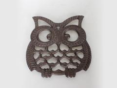 Cast iron owl table trivet