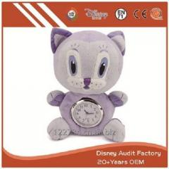 Plush Stuffed Cat Toy Clock Filling 100% PP Cotton 20CM