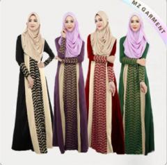 100% Polyester Ladies Muslim Dress Long Sleeve