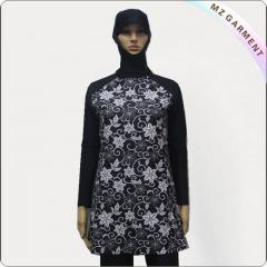 Purple Print Black Long Sleeve Muslim Swimwear