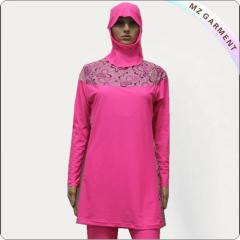 Pink Long Sleeve Muslim Swimwear