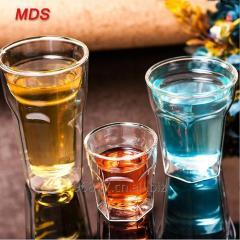 Creative clear six-sided double wall thickened glass coffee tea cup