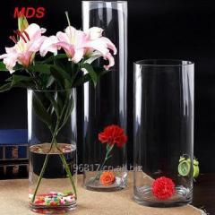 Glassware wholesale bohemia crystal cylinder clear glass flower vase