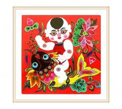 Children And Lotus Cloth Stacking Painting