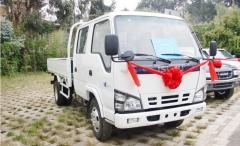 Isuzu white crew cabin lorry truck