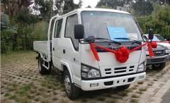 Isuzu 600P double cabin cargo truck white