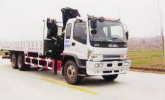 6X4 Isuzu lorry with crane truck mounted crane XCMG