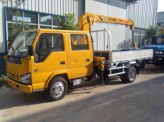 Isuzu 600p truck crane XCMG crew cabin