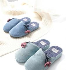 Jia Lifu warm cotton slippers ladies home spring and autumn winter indoor non-slip cute bow sump slippers