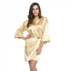 Gold Solid Plain robe Bridesmaid silk satin