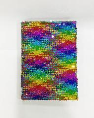 Colorful Sequins notebook, measures 18x13cm.
