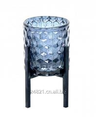 Metal candel holder with glass