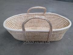 Corn husk moses basket, straw made baby basket