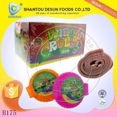 Colourful fruit roll bubble gum