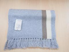 Stripe knitting cashmere scarves with fringes