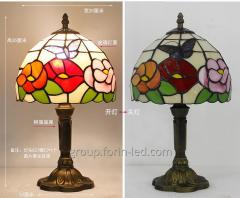 Tiffany colored bedside table lamps