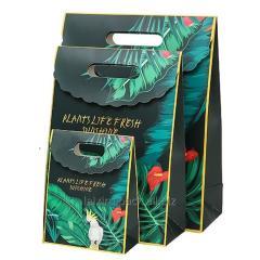 Custom luxury die cut handle paper hand bag...