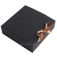Custom flip over kraft gift box with ribbon...