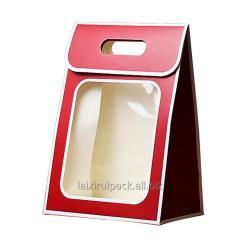 Custom die cut handle flower paper box with...