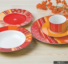"DECAL NO.: FA171  餐具 陶瓷 12PCS 茶具 18PCS餐具 41PCS餐具 dinner set tea set 7.5""flat plate 8""soup plate 9"" flat plate 10.5""flat plate 5""footed bowl 4.5""footed bowl 650ml 600ml tea pot sugar pot 310ml mug 3pcs candy set 10""oval plate 12""oval plate"